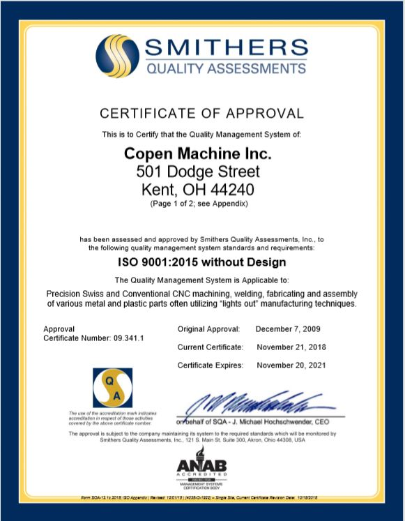 ISO Certificate at Copen Machine